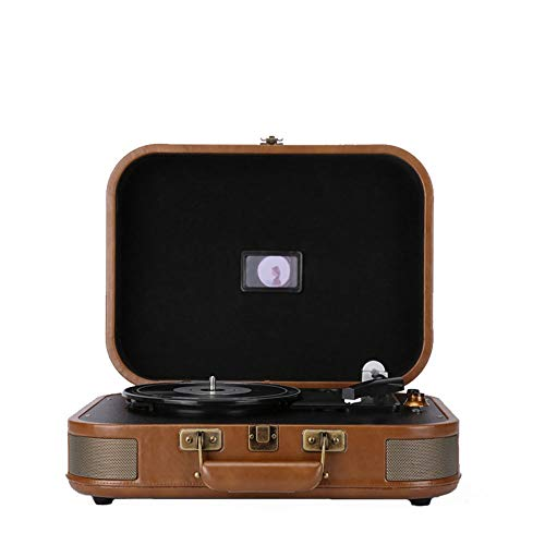LUCY STORE Retro Vinyl Record Player + Bluetooth Speakers Small Portable Phonograph LP Record Players Home Furnishing Gift Portable 38.5 28 13.5cm (Color : Brown)