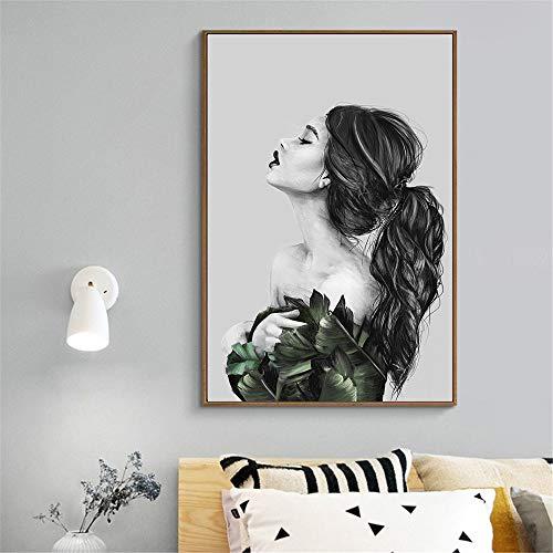 adgkitb canvas Leinwanddruck Frauen Indische Frauen Schwarz Weiß Wandkunst Canva Art Wall Decorations 30x45cm KEIN Rahmen