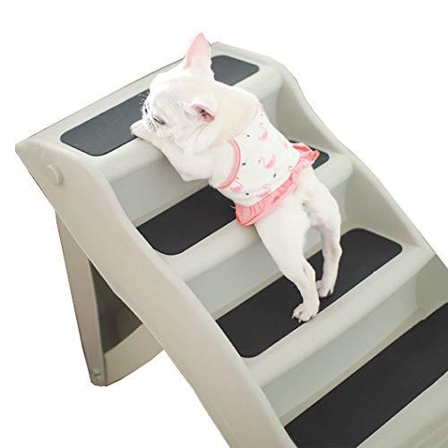 Estrella-L Haustiertreppe, rutschfest, 3 Stufen, breite Haustiertreppe, Katzen am besten für kleine bis große Haustiere, zusammengebaut und faltbar, Schutz aus PP-Material (weiß), M
