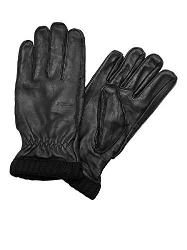 Jack & Jones Jacjace Leather Gloves Guantes, Negro (Black Black), Small (Talla del Fabricante: S/M) para Hombre