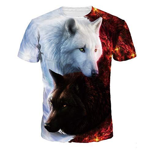XIAOBAOZITXU T-Shirt 3D-Digitaldruck Roter Und Weißer Wolf Pullover Kurzarm Rundhalsausschnitt Sommerkleidung Für Männer Und Frauen M