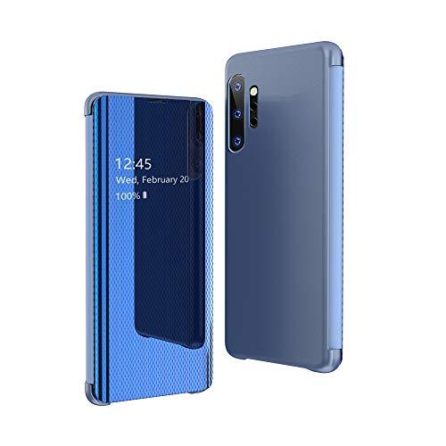 CrazyLemon Hülle für Samsung Galaxy Note 10, Dünn Leicht Flip Sichtbar Spiegel Schutzhülle PU Leder + Mikrofaser PC Hybrid Stoßfest Handyhülle - Blau