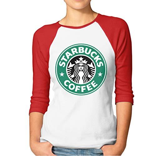 Damen Starbucks Logo Logo Merch Bekleidung T-Shirt Rundhalsausschnitt Tee T Shirt Baumwolle Sommer für Frauen Red L