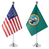ZXvZYT 2 Pack American US Washington flag USA Washington WA State table flag,Small Mini United States Desk Flags With Stand Base,for U.S. States Party Events Celebration Decorations Supplies