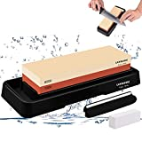 Sharpening Stone, 2 Side Grit Whetstone 1000/6000, Chef Knife Sharpener Stone Holder Set Kit,...