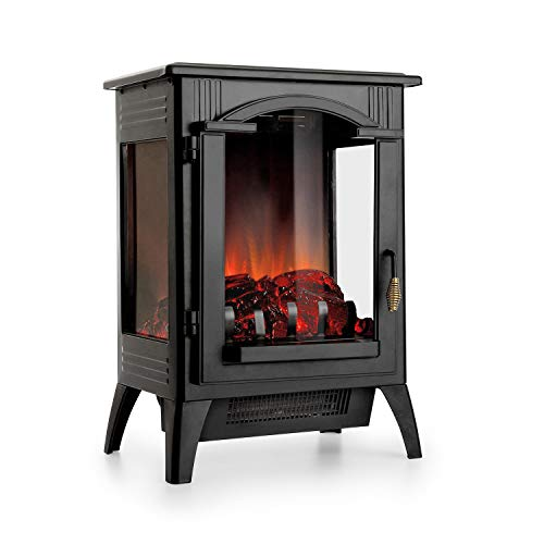 Klarstein Graz Electric Fireplace w/Flame Effect - Electric Fireplace , 1000/2000 Watts , Up to 30 m? , Thermostat , Heating Function , Dimming and Heat Continuously Adjustable , PanoramaView