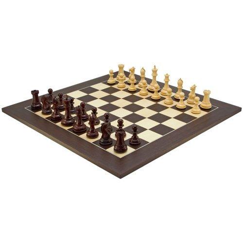 The Regency Chess Company Sandringham Rosso Sandalo Pezzi con Deluxe Wenge Board