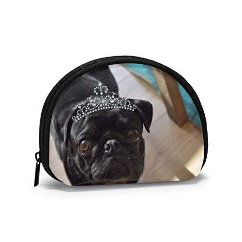 Oxford Cloth - Monedero para perro de pug negro con cremallera pequeña bolsa de cambio de bolsa de cosméticos mini bolsas de maquillaje organizador multiusos