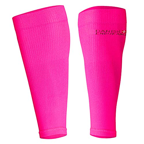 DANISH ENDURANCE Graduated Calf Compression Sleeves (Large, Neon Pink)