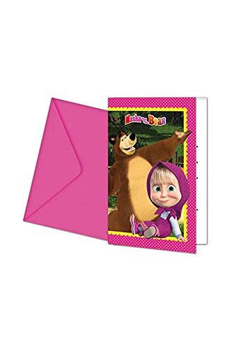 Procos 86562 Einladungskarten mit Umschlag Mascha und Bär, 6 Stück, rosa