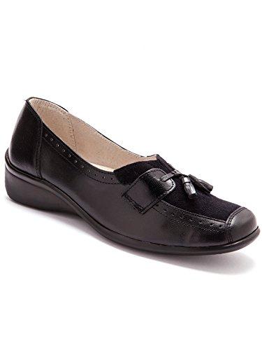 Pediconfort - sans-gêne bi-matière, avec Pompons - Femme - Taille : 40 - Couleur : Noir