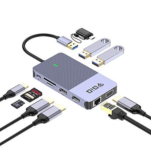 GIQ Docking Station,USB C Hub USB 3.0 to Dual HDMI VGA Adapter,Triple Display USB C Laptop Docking Station Dual Monitor Compatible with MacBook M1,USB Dock