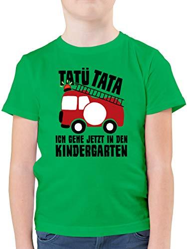 Kindergarten - Feuerwehrauto rund - Tatü Tata Ich gehe jetzt in den Kindergarten - 128 (7/8 Jahre) - Grün - t-Shirt für Kindergarten - F130K - Kinder Tshirts und T-Shirt für Jungen