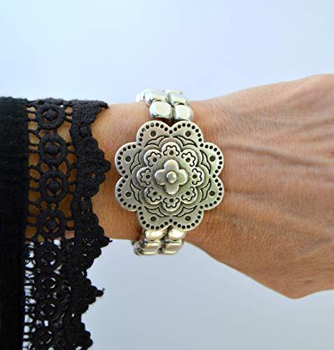Brazalete de zamak plata y cuero en estilo vikingo o celta, joyas modernas y casuales