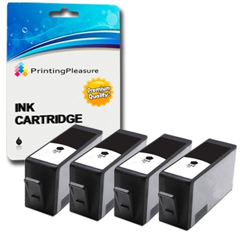 Printing Pleasure 4 Tintenpatronen kompatibel zu HP 364XL für HP Photosmart 5510 5515 5520 6510 6520 7510 7520 B110 B209 B210 C309 C310 Deskjet 3070A 3520 Officejet 4610 4620 - Schwarz, hohe Kapazität