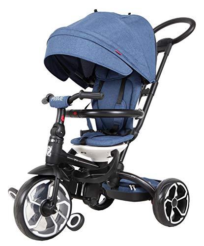 Kinder Luxus Dreirad Kinderwagen QPlay Prime 4in1 Blau mit UV-Dach und Schubstange