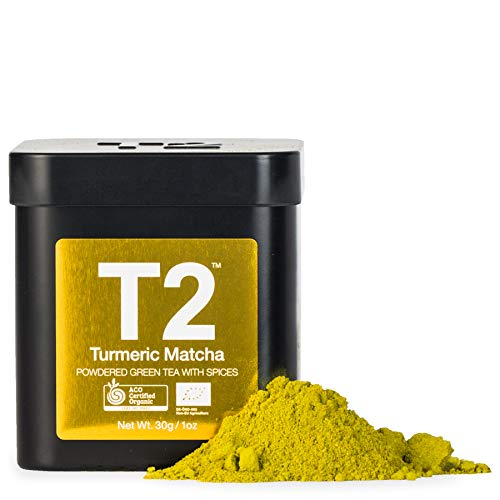 T2 Tea - Organic Turmeric Green Tea Matcha Powder in a Tin, 30g