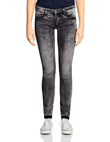 Street One Damen 372570 York Fit Slim Jeans, Grau (Black Overdye Bleach 12032), W25/L30 (Herstellergröße:25)