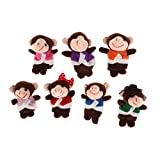 Fityle 7 Pieces Story Time Finger Puppets Set - Soft Plush Puppets - 5 Little Monkeys, 1 Mommy Monkey and 1 Doctor Monkey