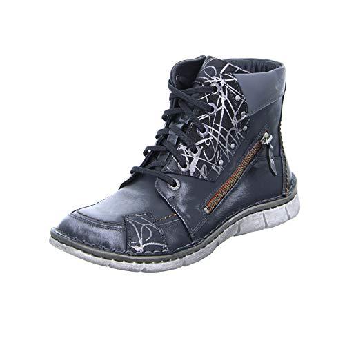 KRISBUT 3108-2 Damen Stiefel Schnürer Sneaker High-Top Leder Reißverschluss Schwarz (Black) Größe 37 EU