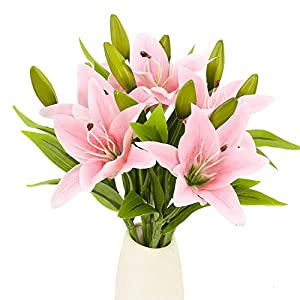 HUAESIN 20Pcs Flores Artificiales Naranja Flores de Plastico Lirios Artificiales Latex Ramilletes Flores Artificiales…