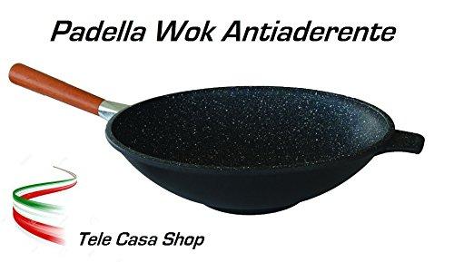 Tele Casa Shop Padella Saltapasta Wok Diametro cm. 32 in Alluminio con Rivestimento Antiaderente in Pietra Lavica Ceramicata con Manico smontabile - Made in Italy