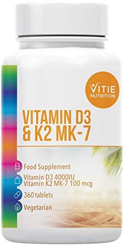 Vitamin D3 4000iu and K2 MK-7 100mcg, 360 Vegetarian Tablets