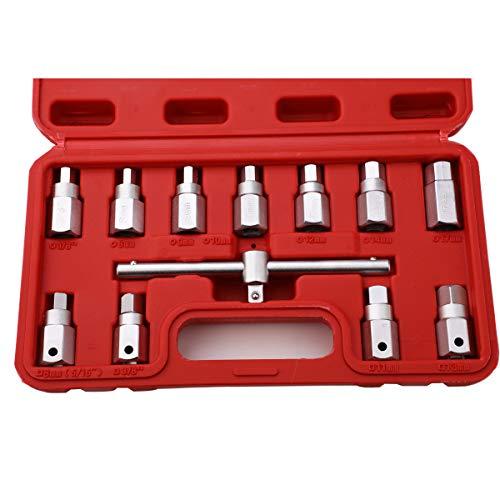 HERIS 12pcs Drain Plug Key Socket Set Axle Oil Sump Spanner 3/8