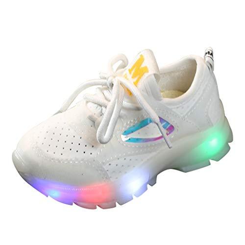 1-6 Años,SO-buts Niños Bebés Niñas Niños Malla Transpirable Luz Led Zapatillas Deportivas Luminosas Ocasionales Zapatillas Planas Ocasionales De Una Sola Carrera Zapatos (Blanco,23 EU)