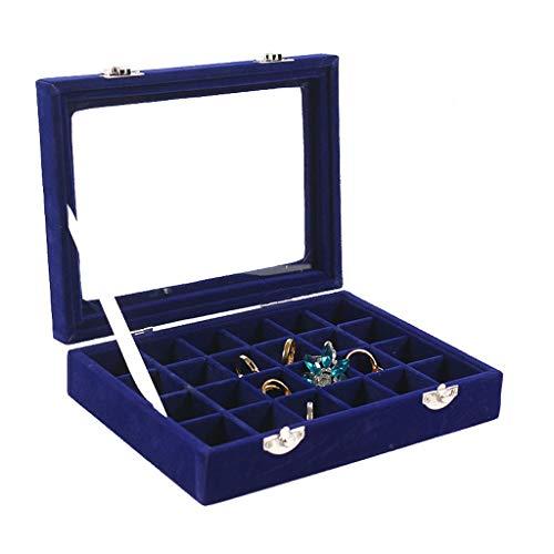 caja organizadora de joyas Tipo del pendiente de la joyería de la joyería caja de terciopelo 24 Rejilla Cristal Display Box Bandeja de almacenamiento anillo acabado cuadro organizador de viajes de joy