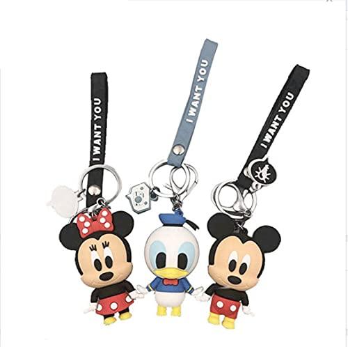 3Pcs/Set Mickey Mouse Figure Keychain Ring Pvc Cartoon Animal Anime Minnie Action Figure Model Gift Children Kids Toys