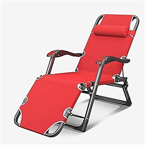 Sillón reclinable FGVDJ Tumbonas y sillones reclinables para jardín Tumbona Plegable Silla roja Ajustable Muebles de Exterior Cama con Almohada para Playa Piscina al Aire Libre (Ta