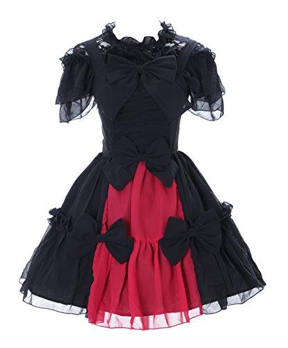 Kawaii-Story JL-656 Schwarz rot Chiffon Spitze Vampir Dark Gothic Lolita Kleid Kostüm Cosplay (L)