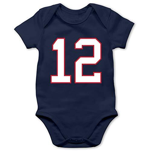 Sport Baby - Football New England 12-6/12 Monate - Navy Blau - New England Baby - BZ10 - Baby Body Kurzarm für Jungen und Mädchen