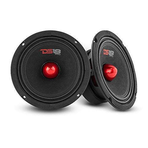 "DS18 2X PRO-GM6.4B Loudspeaker - 6.5"", Midrange, Red Aluminum Bullet, 480W Max, 4 Ohms,1.5"" Kapton VC Premium Quality Audio Door Speakers for Car or Truck Stereo Sound System (2 Speakers)"