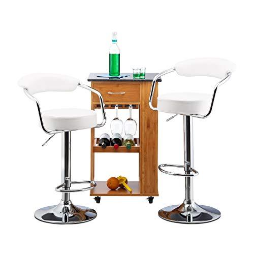 Relaxdays höhenverstellbar, drehbar, mit Lehne, Kunstleder, Metall Barhocker Chillout C 2er Set, verchromter Stahl, Schaumstoff, Weiß, HxBxT: 106 x 52 x 50 cm