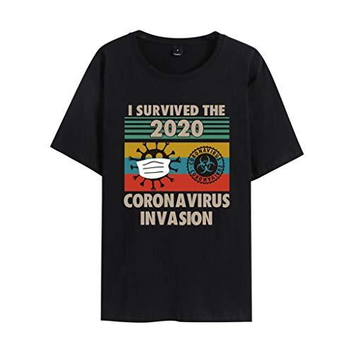ISURVIVED THECORONAVIRUSINVASION T-shirt à manches courtes Motif virus de la couronne Taille L