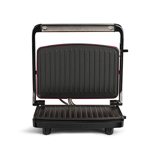 Kontaktgrill Sandwichmaker Tischgrill Elektrisch mit Deckel Antihaftbeschichtung (Grillplatte, Sandwich Maker, Panini Maker, Elektrogrill, Rot)