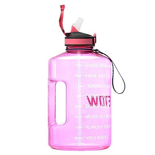 ETDW 3,78 Liter Wasserflasche mit Strohhalme Auslaufsicher, BPA Frei Groß Sportflasche mit Zeitangaben, Trinkflasche 3,78L Hell-Pink
