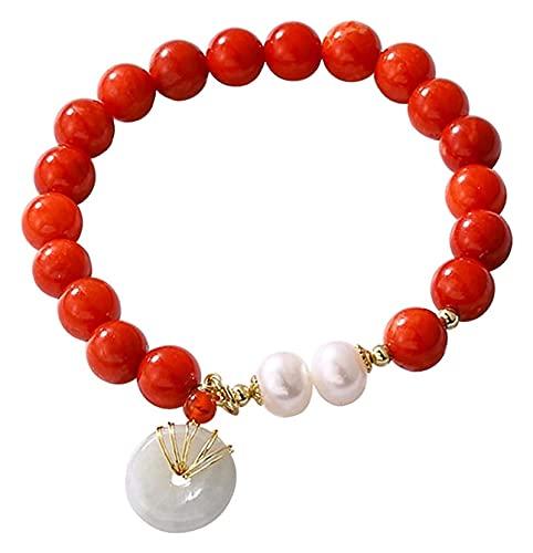 Feng Shui Pulsera de riqueza para mujeres Hetian Nefrite Jade Antiguo Moneda / Hebilla Hebilla Lucky Charm South Red Agate Carnelian Natural Pearls Pulsera de cristal para el dinero Longevidad Talismá