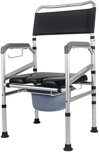 Folding Duschstol Badrum Seat gravida kvinnor Major toalettstolen Mobile Seat med Back och Armstöd Justerbar höjd