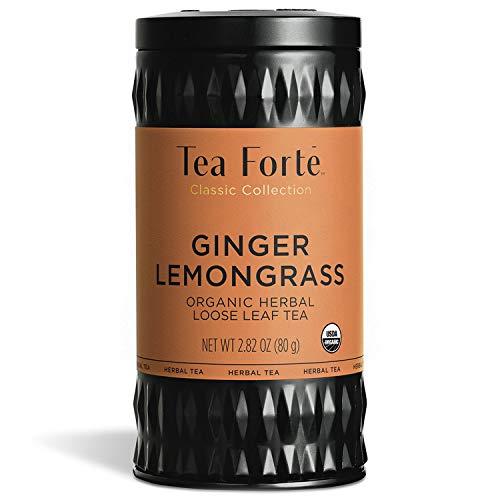 Tea Forte Organic Herbal Tea, Makes 35-50 Cups, 2.82 Ounce Loose Leaf Tea Canister, Ginger Lemongrass