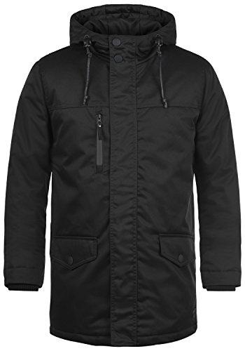 Redefined Rebel Mule Herren Winter Jacke Parka Mantel Lange Winterjacke gefüttert mit Kapuze, Größe:L, Farbe:Black