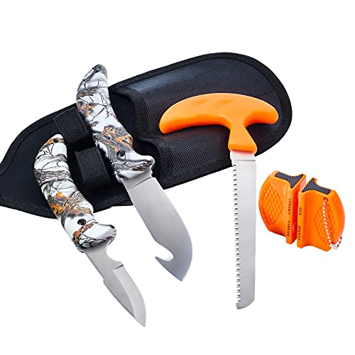 KNINE OUTDOORS 4-piece Hunting Knife and Saw Combo Set, Gut-hook Skinner, Fixed Blade Caping Knife, Nylon Belt Sheath