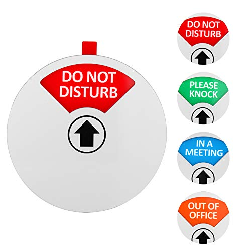 Kichwit Privacy Sign, Do Not Disturb Sign, Out of Office Sign, Please Knock Sign, In a Meeting Sign, Office Sign, Conference Sign for Offices, 5 Inch, Silver Photo #4