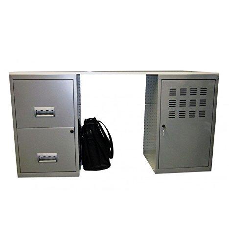 Bureau d'étudiant en kit composé de 1 colonne 2 tiroirs + 1 casier à porte - Couleur : Alu