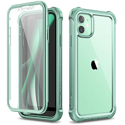 Dexnor Coque Compatible avec Iphone 12 et pour Iphone 12 Pro 6,1'', 360 degrés Coque de Protection Avant et arrière Antichoc complète avec Protecteur d'écran intégré - Vert