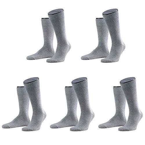 FALKE Socken Herren Strümpfe Family Allro& Einfarbig 5 Paar: Farbe: Lichtgrau | Größe: 39-42 (UK 6-8)