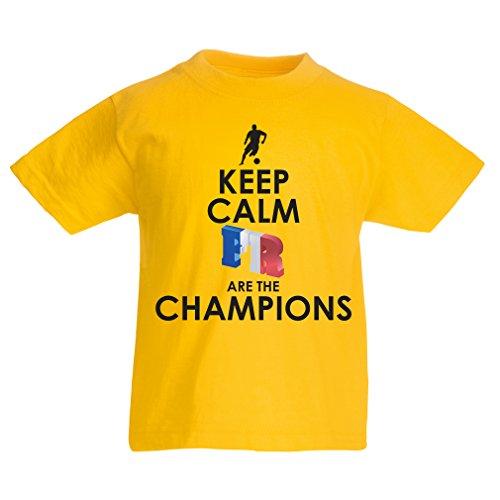 Camiseta Niños/Niñas Los franceses Son los campeones: Campeonato de Rusia 2018, Equipo de fútbol de la Copa del Mundo, Camiseta de la afición de Francia (12-13 Years Amarillo Multicolor)