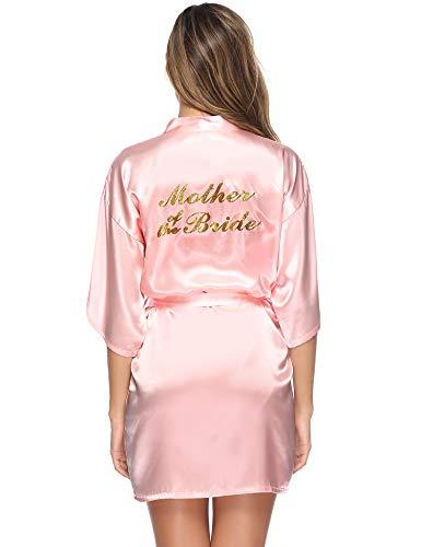 Aibrou Damen Hochzeit Kimono Bademantel Kurzer Morgenmantel Satin Robe für Mutter der Braut V Ausschnitt mit Druck Gürtel Rosa L
